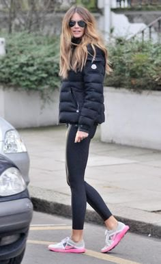 black bubble coat with dark grey leggings