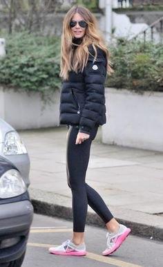 black bubble coat with dark grey leggings