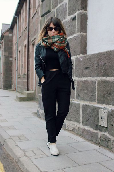 black chinos with cropped sweater and leather jacket