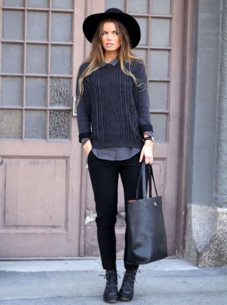 black chinos with grey cable knit sweater