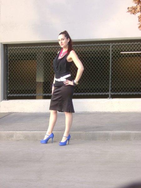 black cowl neck midi shift dress with white belt