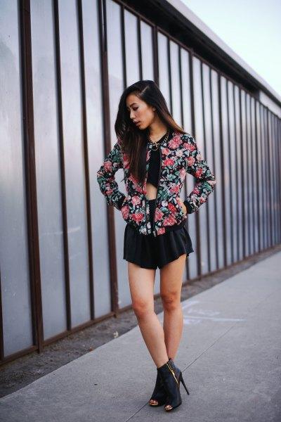 black crop top flowy mini shorts