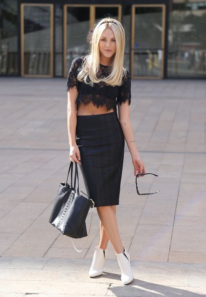 black crop top with midi bodycon skirt