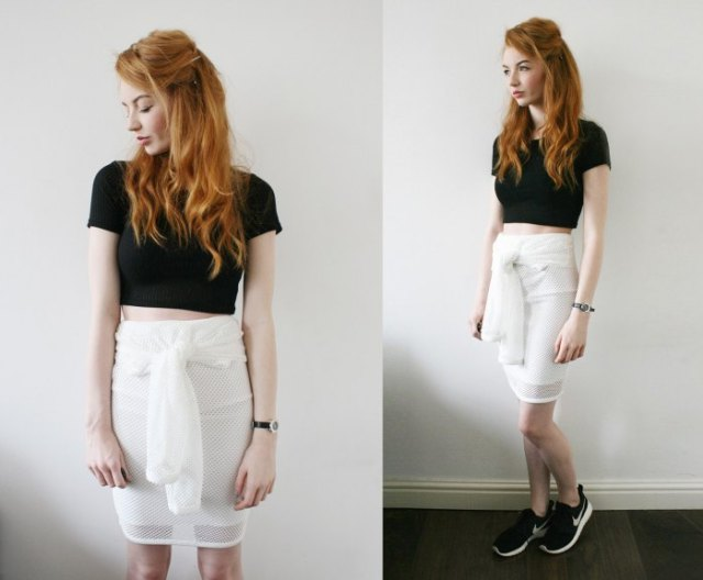 black cropped t shirt with white ribbon skirt
