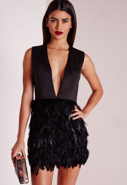 black deep v neck feather mini dress