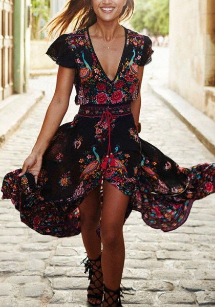 black deep v neck floral ruffle midi dress