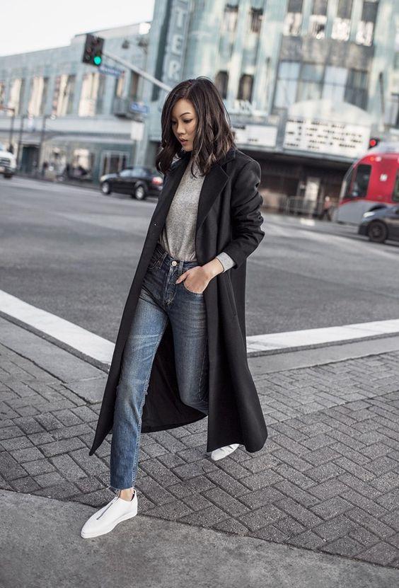 black duster coat minimal