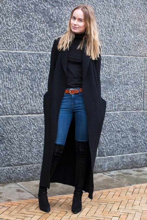 black duster coat thigh high boots