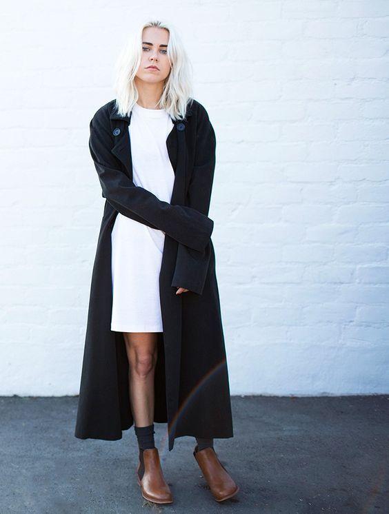 black duster coat white dress
