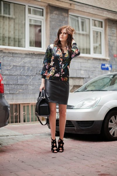 black floral bomber jacket with leather bodycon mini dress