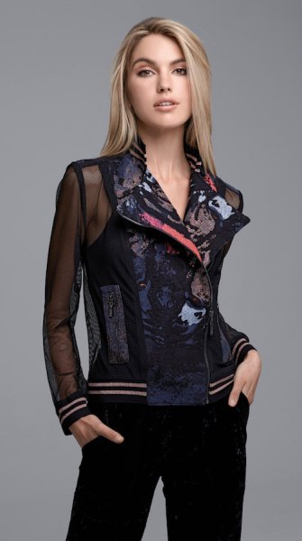 black floral embroidered mesh blazer jacket