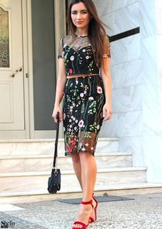 black floral embroidered mesh knee length skirt with matching top