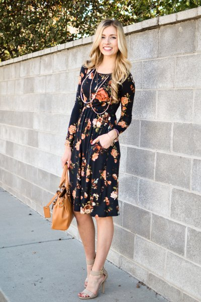 black floral gathered waist midi sheath dress