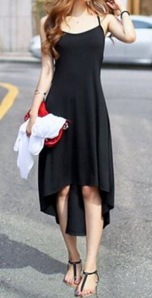black high low midi sundress with sandals