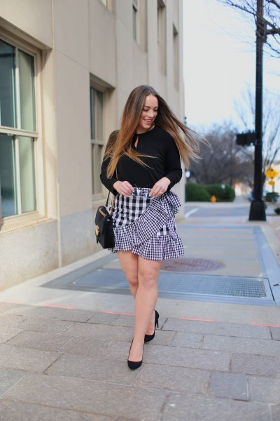 black keyhole sweater with checkered mini ruffle skirt