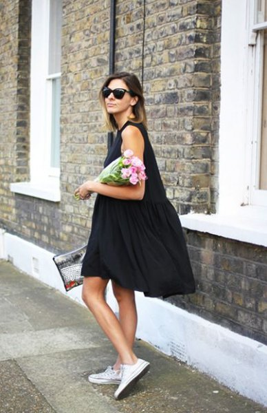 black knee length tank swing dress with white sneakers