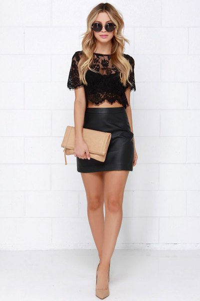 black lace crop top with leather mini bodycon skirt