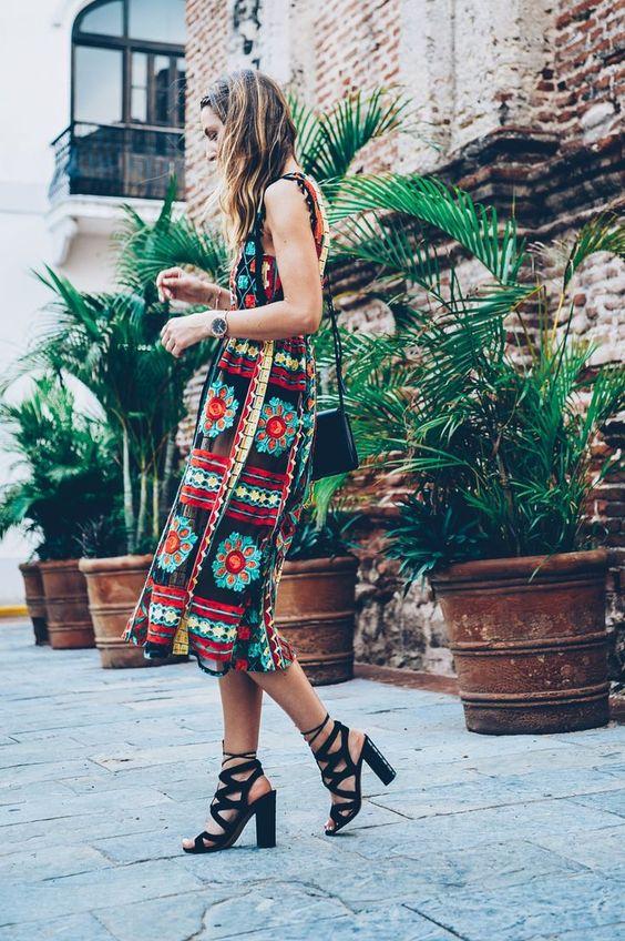 black lace up heels boho dress