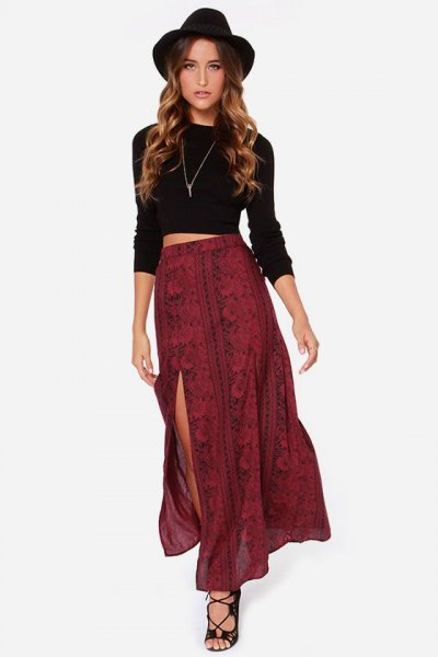 black long sleeve crop top with red patterned double slit skirt
