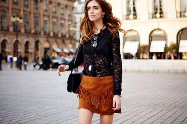black long sleeve lace top with brown fringe suede mini skirt