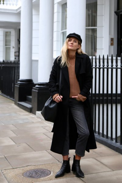 black maxi coat with camel mock neck ribbed sweater