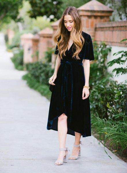 black maxi high low velvet wrap dress