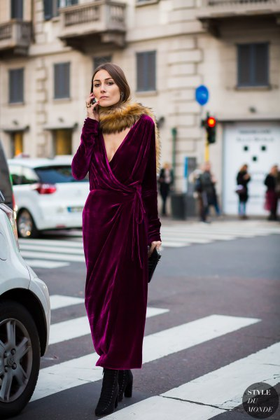 black maxi velvet wrap dress with faux fur scarf