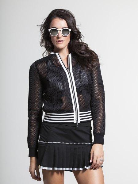black mesh jacket with mini dress