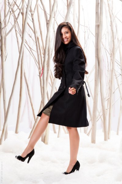 black midi coat dress with pointed toe heels