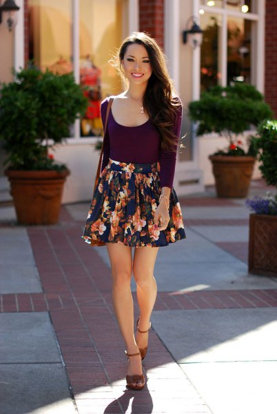 black scoop neck silk top with mini floral skirt