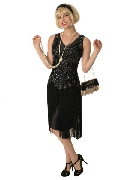 black sequin midi fringe gatsby style dress