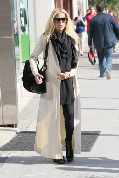 black shift mini dress and scarf