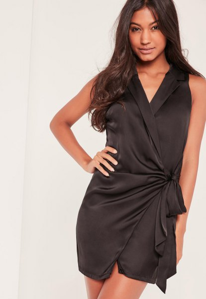 black silk sleeveless mini wrap dress