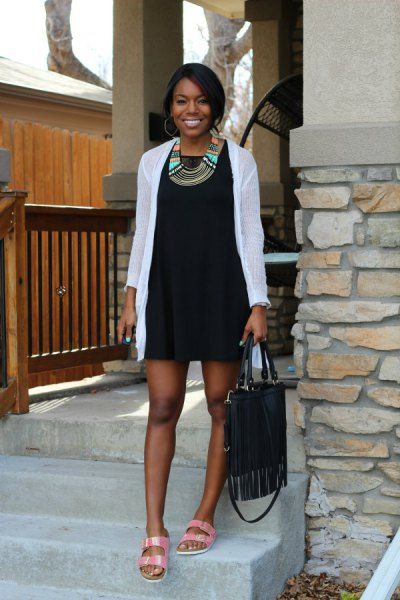 black sundress with white long cardigan