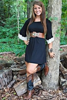 black tunic dress with brown wide leather belt