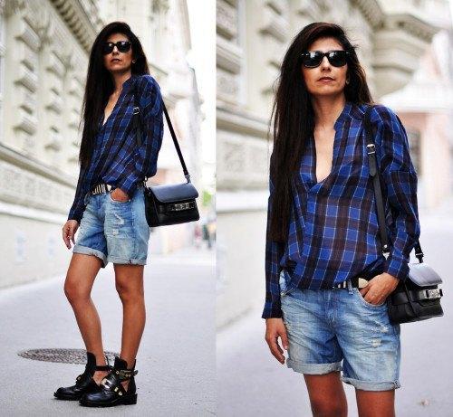blue and black plaid shirt with cuffed boyfriend shorts