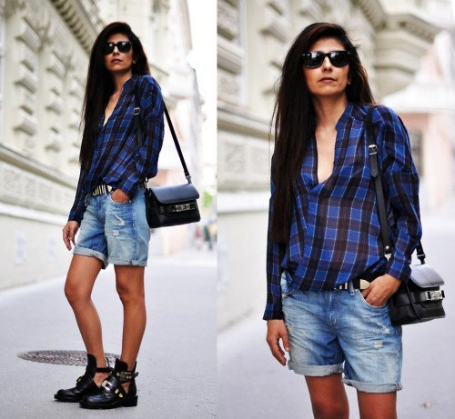 blue and black plaid shirt with cuffed boyfriend shorts