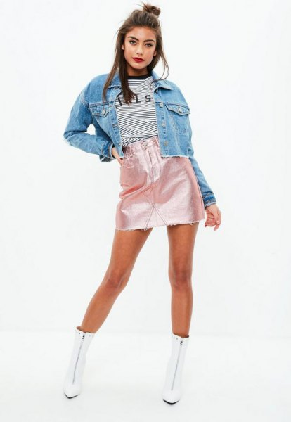 blue denim jacket with high waisted mini shiny skirt