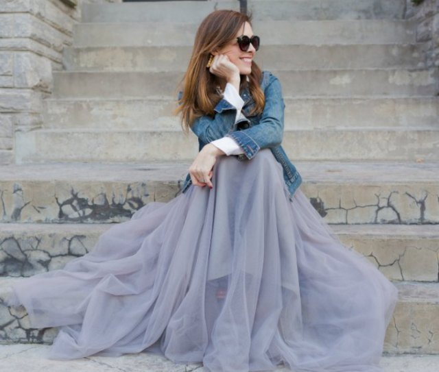 blue denim jacket with teal floor length tulle skirt
