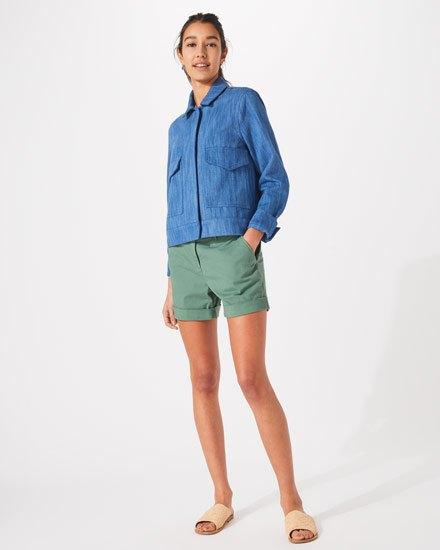 blue denim shirt with grey chino shorts