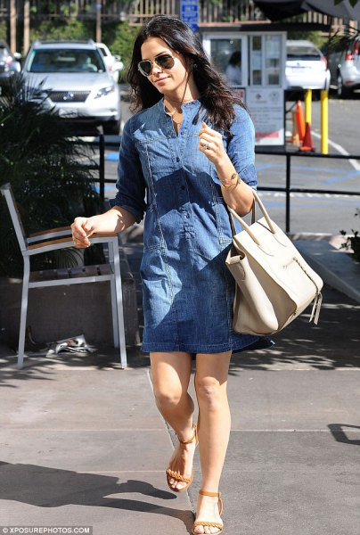 blue denim tunic with ivory leather purse