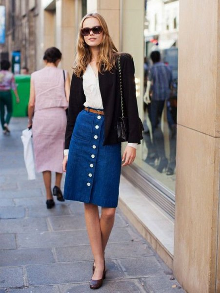 blue unwashed midi button front denim skirt with black wool blazer
