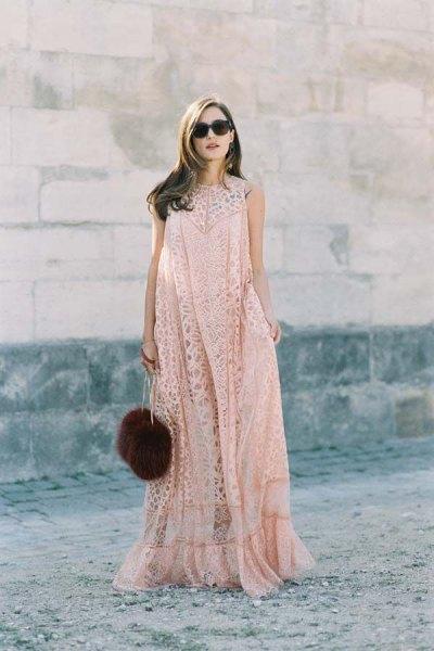 blush lace flared floor length dress