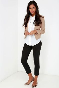 blush pink cropped blazer with white shirt and black jeans