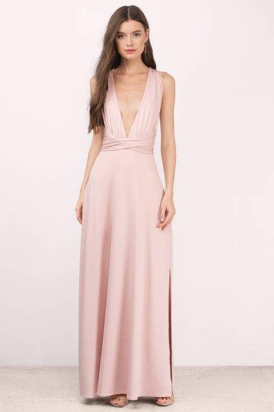 blush pink deep v neck maxi dress