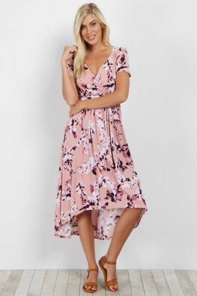 blush pink floral printed midi flared wrap dress