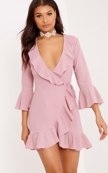 blush pink ruffle mini wrap dress with silver choker necklace
