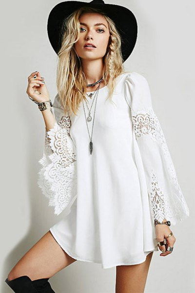 boho style white long sleeve casual mini dress with black floppy hat