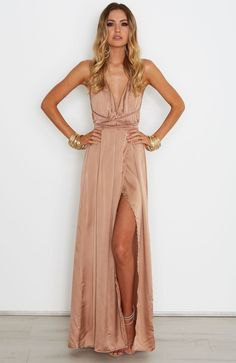 bronze deep v neck pleated silk maxi dress