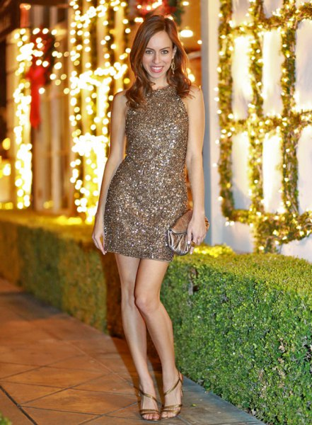 bronze sleeveless sequin bodycon mini dress